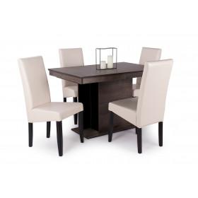 Iszap tölgy - fekete üveglap asztal + wenge - beige műbőr szék