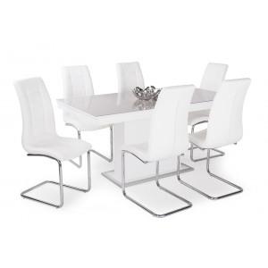 Fehér szék + rusztik fehér asztal latte üveglappal