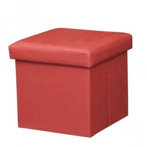 Összehajtható puff, textilbőr piros, TELA NEW